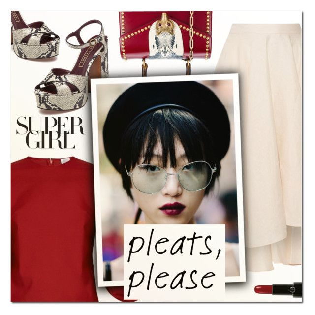 """Give Me Pleats, Please! II"" by vampirella24 ❤ liked on Polyvore featuring Giorgio Armani, Miguelina, Gucci, Rosie Assoulin and Marc Jacobs"