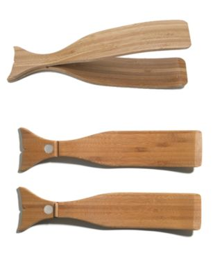 Our handcrafted Bamboo Whale Tongs from Design House Stockholm are a unique addition to any table setting.  Use them as part of a salad set or as a pair of serving tongs—they're suited to serving salads and other foods. Let alone, they make for an interesting conversation piece thanks to an eye-catching whale design and a good back story--