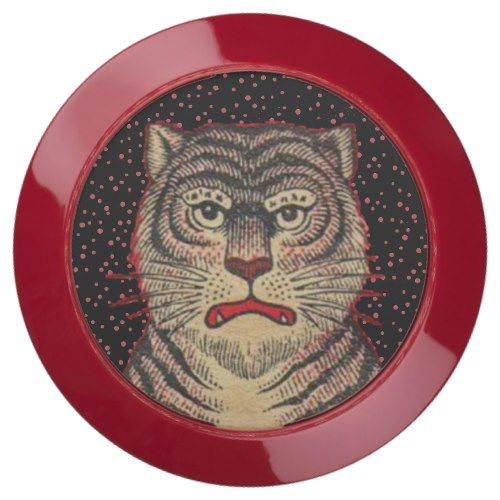 Red dots With Vintage Striped Asian Tiger Head USB Charging Station
