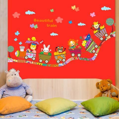 Beautiful Nursery wall sticker train with cute animals