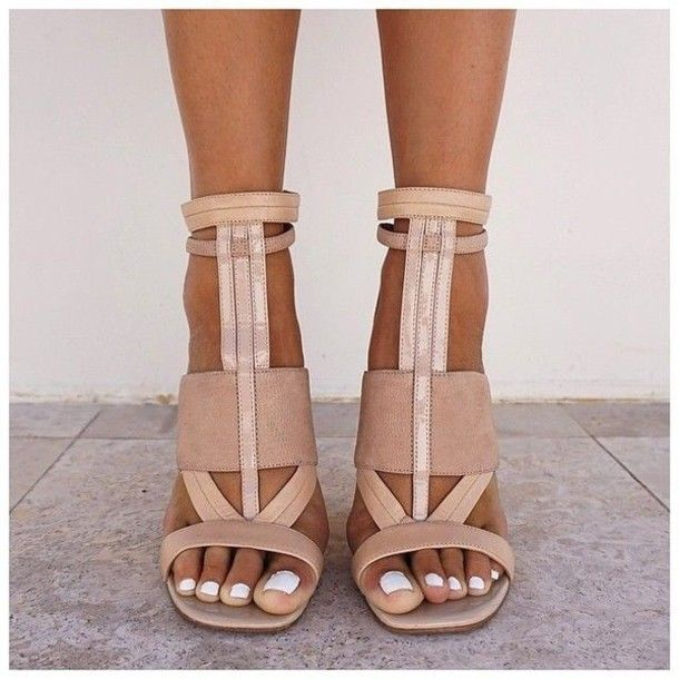 Loving these feminine and geometric ankle stap sandals... so gorgeous! shoes nude heels camel white brown strappy heels sandals high heels leather sandals tan leather nude pumps