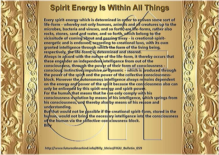 But that would not be possible if the creational spirit-form, stored in the human, would not bring the necessary intelligence into the consciousness of the human via the collective-consciousness-block. Billy   http://www.futureofmankind.info/Billy_Meier/FIGU_Bulletin_059