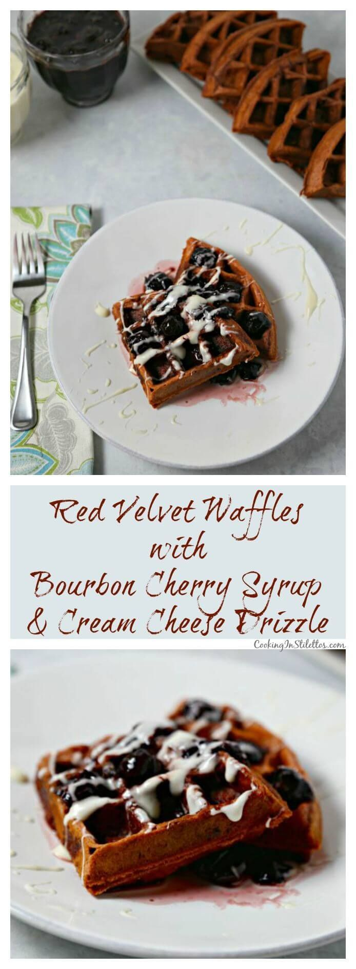 Red Velvet Waffles with Bourbon Cherry Syrup and drizzled with a sweet cream cheese glaze are rich, decadent and will have you swooning with each bite | Cooking In Stilettos ~ http://cookinginstilettos.com