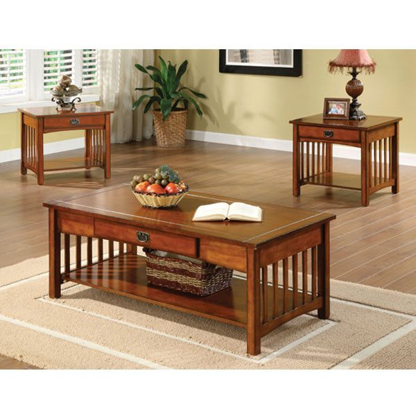 Seville Mission Style Oak Finish 3-Piece Coffee & End Table Set