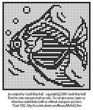 Tropical Fish Free Chart For Needlecrafts Crochet or Silhouette Cross-Stitch