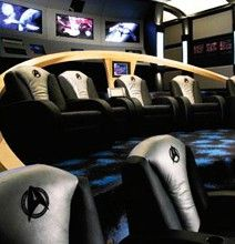Unbelievable Star Trek Themed Home Movie Theater... don't let my husband see this....or else this will become my basement