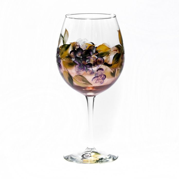 painted all purpose wine glasses in a grape vine leaf design in shades of ombre burgunday green purple and tuscan gift