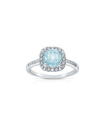 Blue Topaz & Diamond Cushion Ring