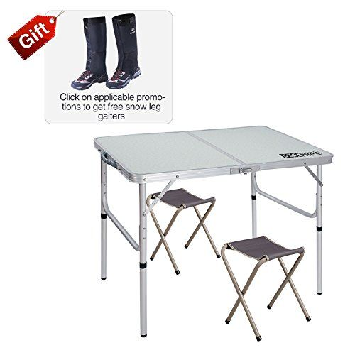 """REDCAMP Folding Camping Table Adjustable, Portable Picnic Table with 2 Chairs, Aluminum White 35.4""""x23.6""""x15''/27.6"""". For product & price info go to:  https://all4hiking.com/products/redcamp-folding-camping-table-adjustable-portable-picnic-table-with-2-chairs-aluminum-white-35-4x23-6x15-27-6/"""
