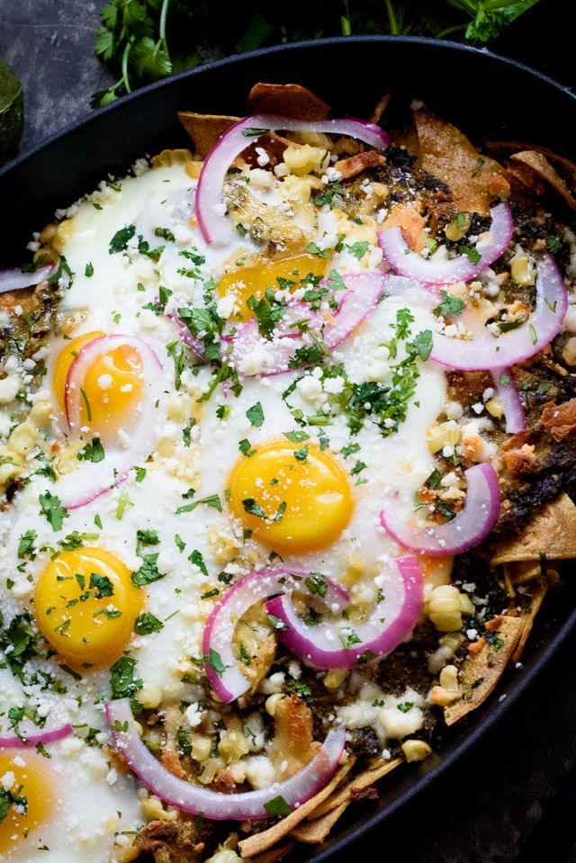 This easy chilaquiles recipe is a fantastic way to use up all those stale corn tortillas languishing in your cupboard. We added eggs, roasted corn and pickled red onion to take this to a whole new level! http://abite.co/easy-chilaquiles