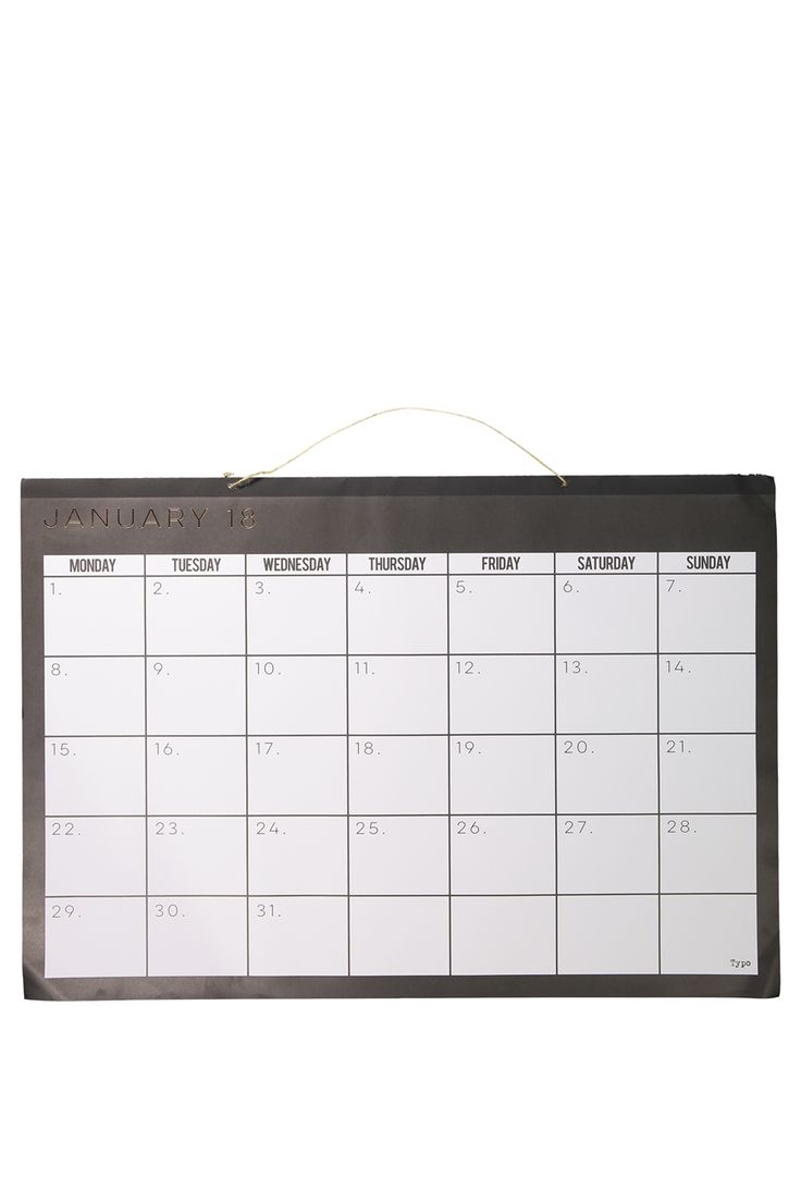 """Typo's 2018 A1 Wall Calendar is your yearly update to your calendar! Starts from January 2018 and finishes December 2018. <br> Extra large size means you can hang on your wall and clearly plan out your new year! <br> <br />  FEATURES & BENEFITS<br /> • Tear off sheets<br /> • Hard Backing<br /> • Monthly Reference Calendars<br /><br />  <br />  Dimensions: 23.39"""" x 33.11"""" (A1)<br &#x2..."""