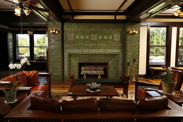 35 best images about tiled fireplaces on pinterest 1930s for Prairie style fireplace