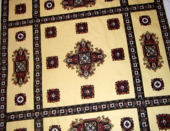 Baroque vintage scarf light yellow tones of brown by CHEZELVIRE, $10.00