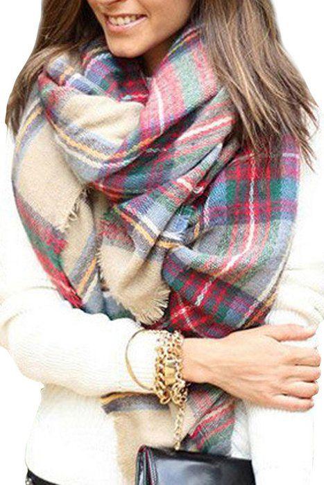 Lady Women Blanket Oversized Tartan Scarf Wrap Shawl Plaid Cozy Checked Pashmina (One Size, Blush)