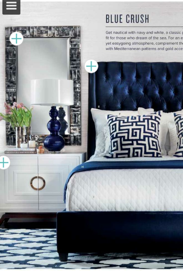 I Could Do This In A Master Bedroom Its Bold And Beautiful Love The Color Headboard Side Tables Etc Navy Tufted By High Fashion
