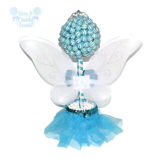 Blue Lollipop Fairy Princess Topiary Candy Fair Centerpiece