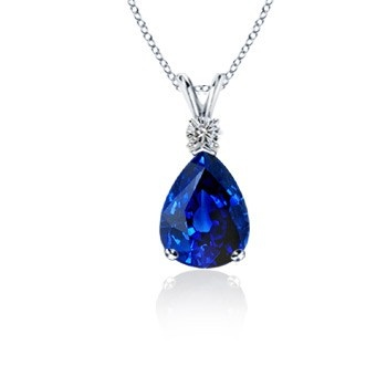 Angara Natural Sapphire and Diamond V-Bale Dangling Pendant(9x7mm) DKoriH