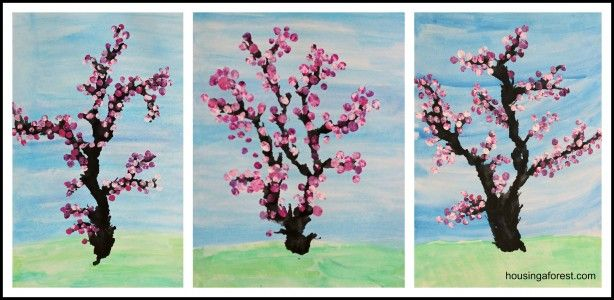 Cherry tree- watercolor background, dropper black & blow with straw for tree, dab fingers for blossoms