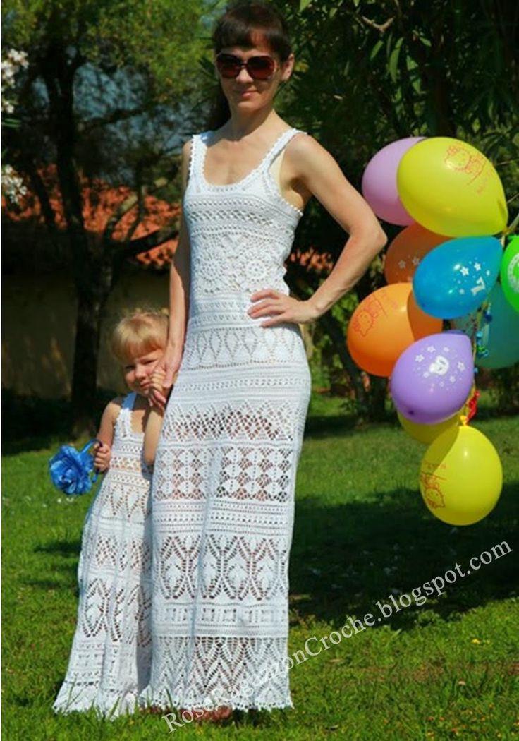 Rose Ragazzon Crochê: Vestido Mãe & Filha
