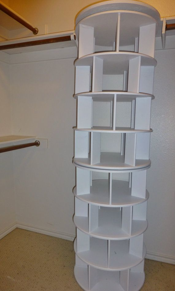 Spinning shoe rack closet mod by Truespacesavers on Etsy