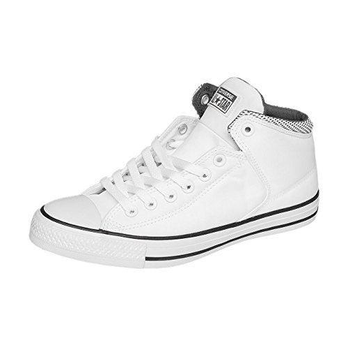 Converse Mens Chuck Taylor High Street Hi White/Black/Thunder Sneaker - 9.5 Men - 11.5 Women