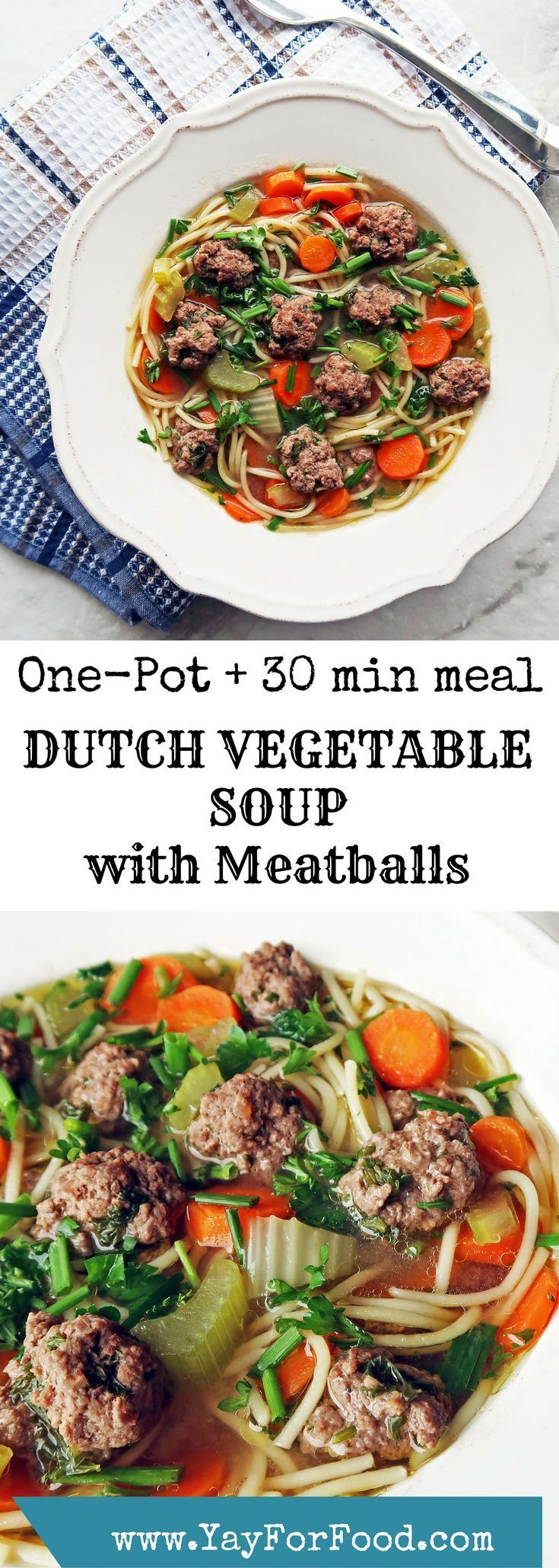 This healthy, simple soup with vegetables, vermicelli pasta, beef meatballs, and fresh herbs is known in Dutch as groentesoep met balletjes and it's easy, delicious, and filling. One-pot and ready in 30 minutes!