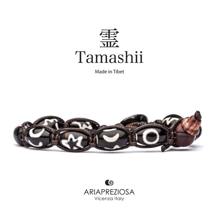 """Tamashii - Serie Speciale BkraShi realizzato con pietre naturali Onice con disegno tradizionale a mano dal significato """"CORAGGIO"""""""