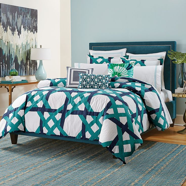 bold and modern style comes to you in a lattice print on the trina turk pacifica pier lattice comforter set this blue trina turk pacifica pier lattice - Trina Turk Bedding