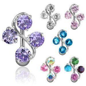 PIERCING NOMBRIL 4 GEMS Couleur du piercing : violet: Amazon.fr: Bijoux