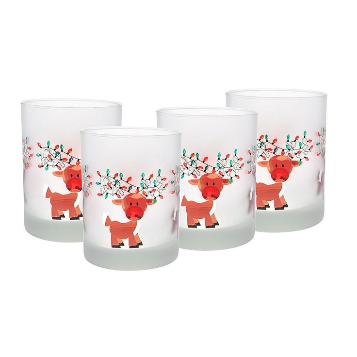 Culver Frosted Reindeer Lights 4-pc. Double Old-Fashioned Glass Set, Multicolor