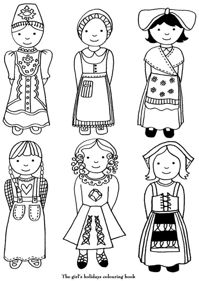 child around the world coloring pages | coloriage Différents costumes | Adult coloring pages ...