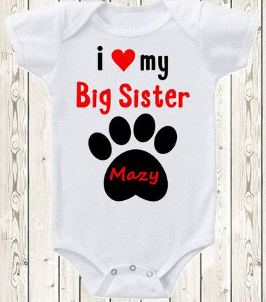 I love my big sister onesie dog ONESIE ® brand bodysuit or shirt i love dog big Sister paw print dog lover unique baby gift gender neutral by The1stYearBaby on Etsy