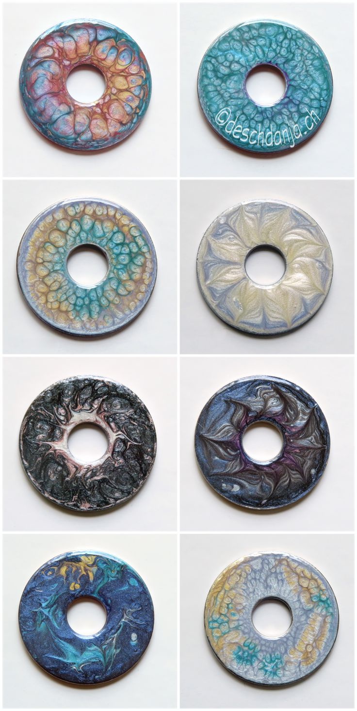 Washers painted wirh Pebeo Fantasy Prisme and Fantasy Moon Colors, www.deschdanja.ch