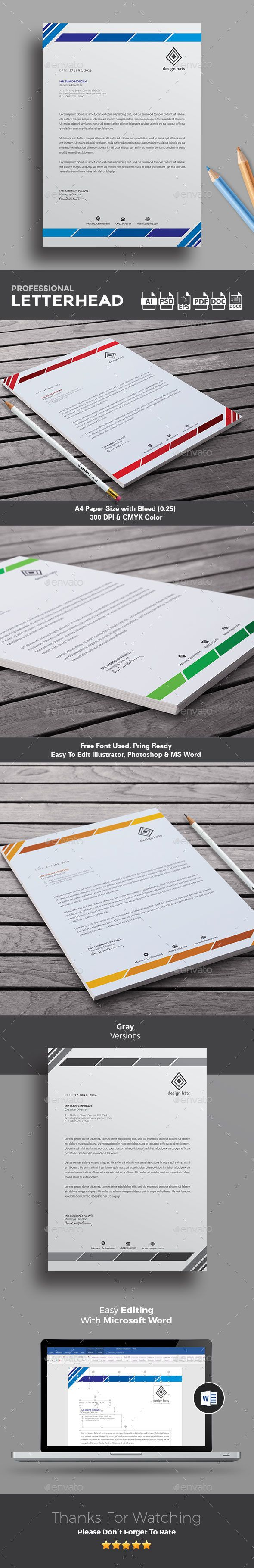 #Letterhead Design is awesome letterhead Template for company letterhead design. I would love to use this clean, tidy but stylish letterhead for my own. Available in Word, PSD, Vector EPS & AI format. Download  http://graphicriver.net/item/letterhead/16902393?ref=themedevisers