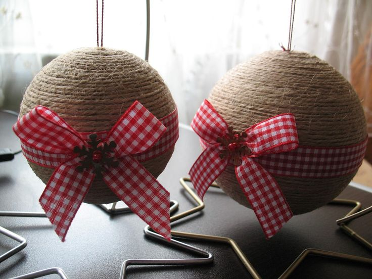 linen cord christmas ball with red&white ribbon