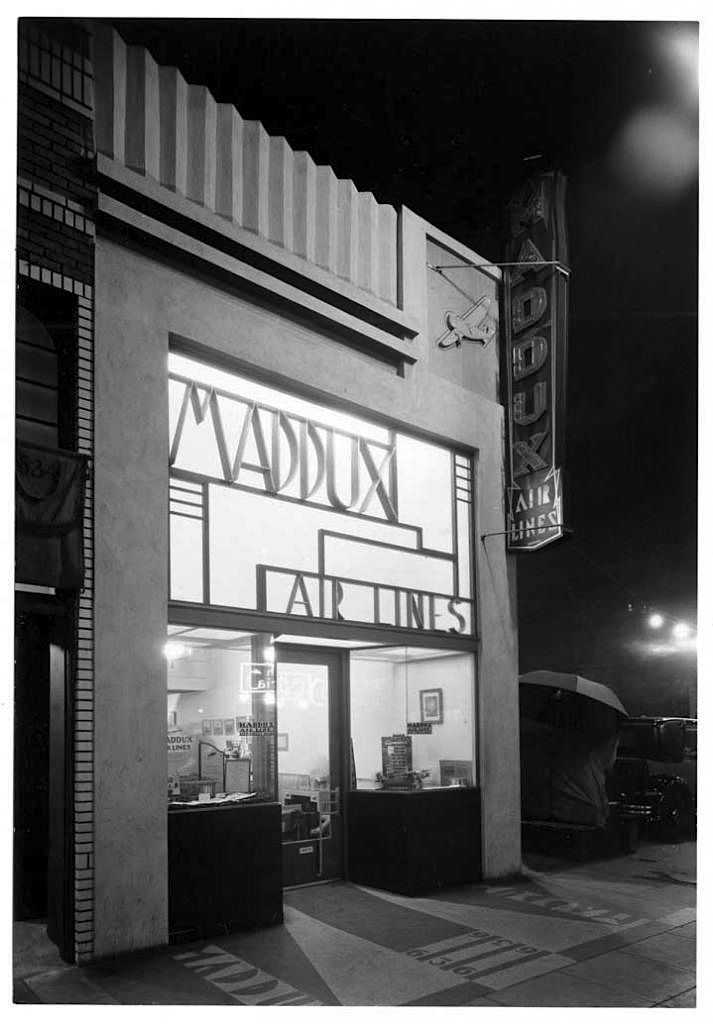 Maddux Air Lines Ticket Office 636 South Olive Street