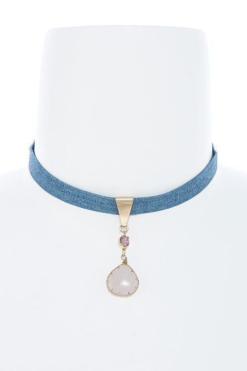 {Denim Semi Precious Stone Choker Necklace}