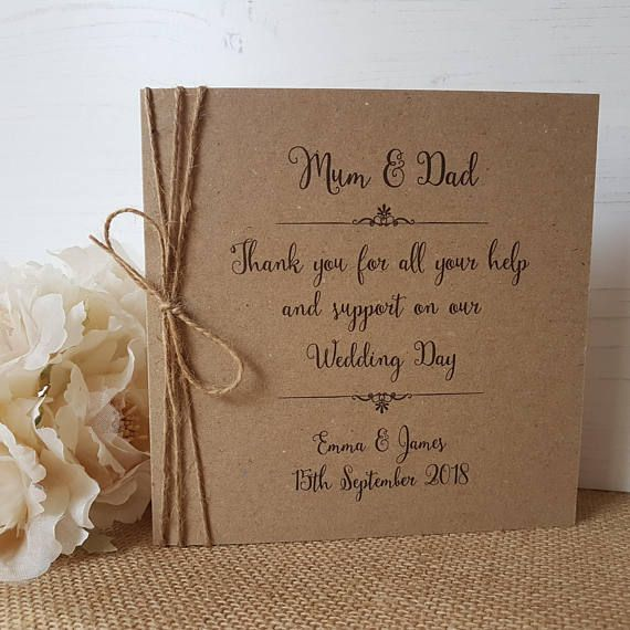 Personalised Mum Dad Thank You Card Rustic Twine Bow Parents