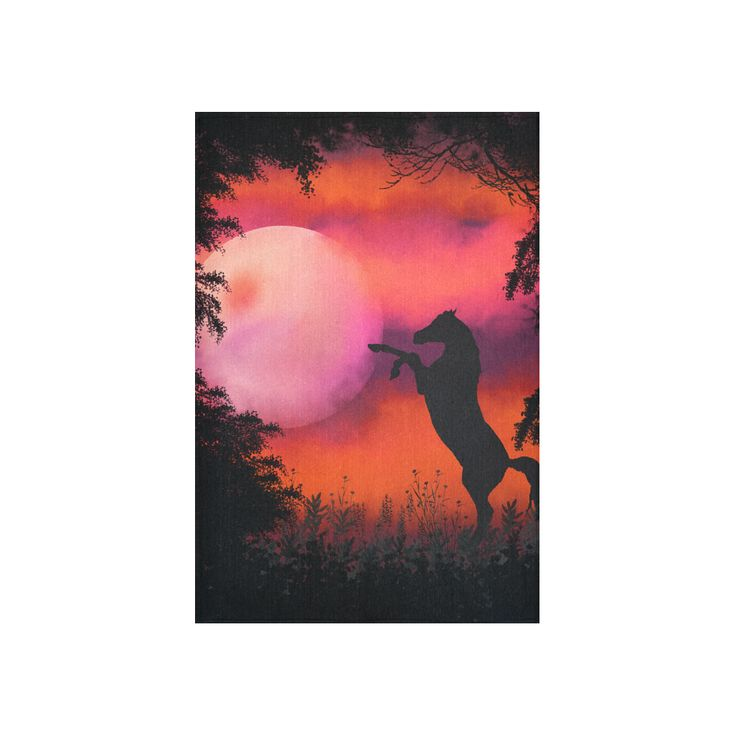Fire sky horse Cotton Linen Wall Tapestry 40 by Tracey Lee Art Designs