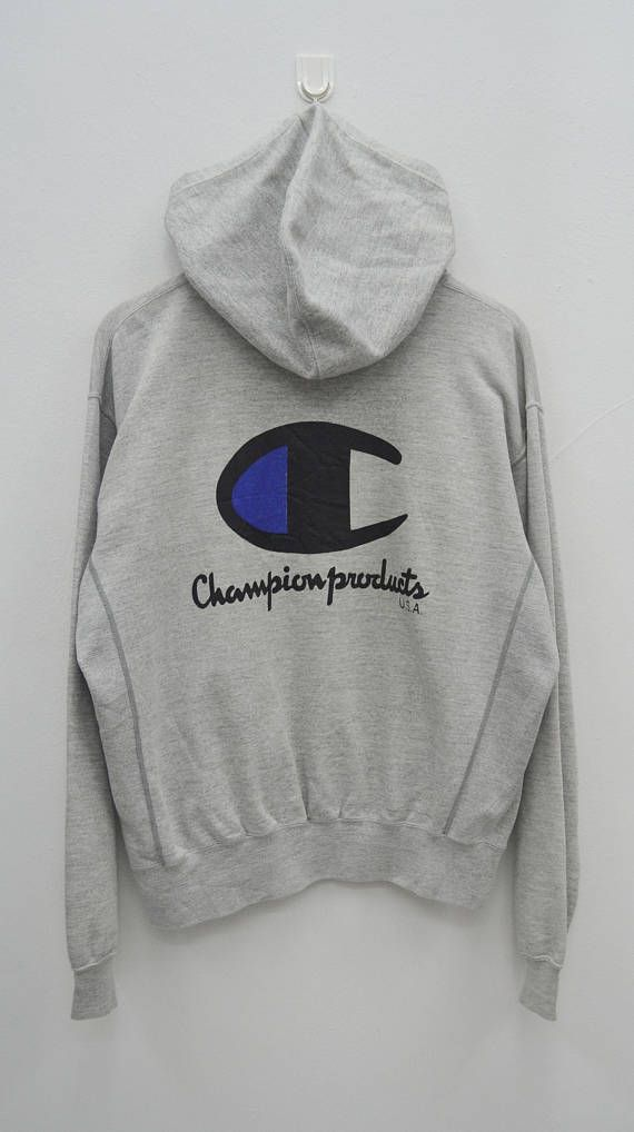 CHAMPION Sweatshirt Vintage 90's Champion Big Logo Spell Out Streetwear Zipper Sweater Sweatshirt Hoodies Size L 8wAvy4Fi