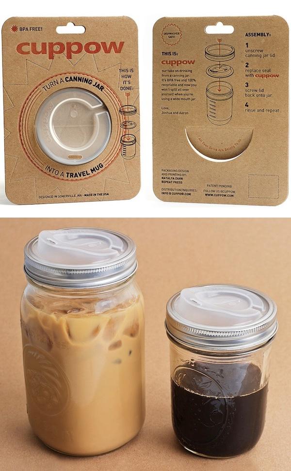 Cuppow. Turn any mason jar in to a travel mug. $8