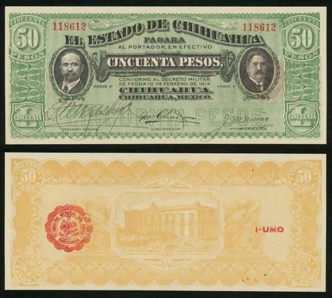 "Description: A beautiful crisp and uncirculated Banknote from the State of Chihuahua in Mexico. This note was issued by ""The State of Chihuahua"" or ""El Estado De Chihuahua."" This is the 10 February 19"