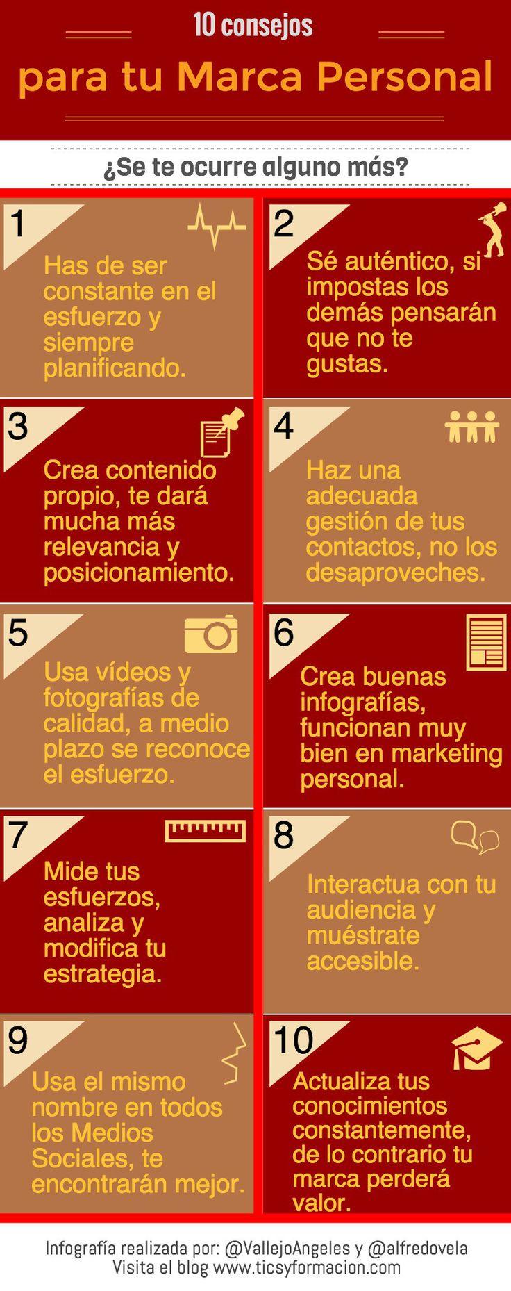 10 consejos para tu Marca Personal #infografia #infographic #marketing