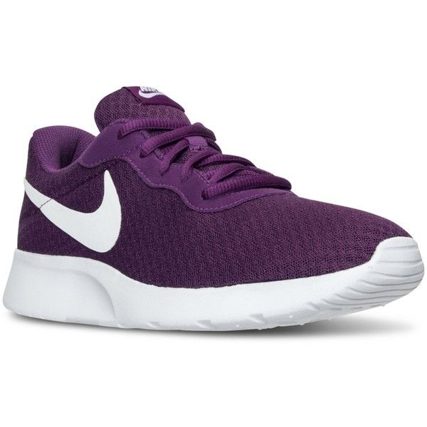 Nike Women's Tanjun Casual Sneakers from Finish Line ($65) ❤ liked on Polyvore featuring shoes, sneakers, nike sneakers, nike trainers, nike footwear, nike shoes and nike