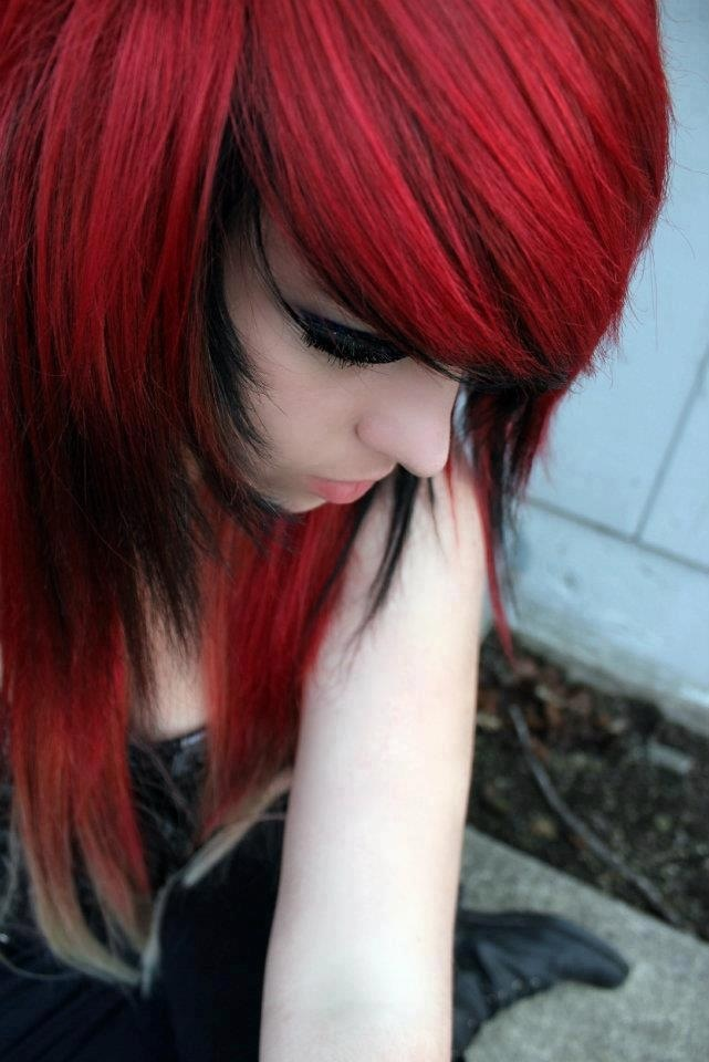 Share Black emo girl with red hair what