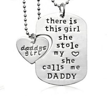 """There Is This Girl She Calls Me Daddy"" interlocking pendant set makes a great gift.  Want to tell your daughter how much she means to you? This necklace says i"