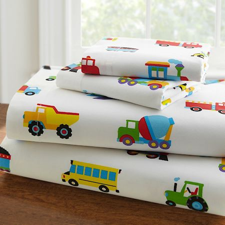 Trucks Trains Airplanes Sheet Set Toddler, Twin or Full Transportation or Construction Bed Sheets
