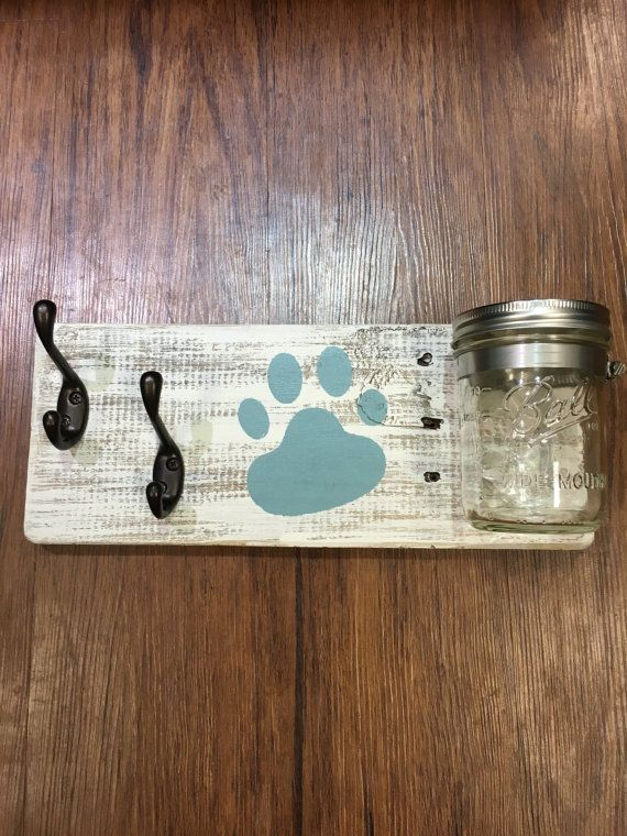 2 Rustic Reclaimed Wood Dog leash holders w/treat by 3DriftsAway