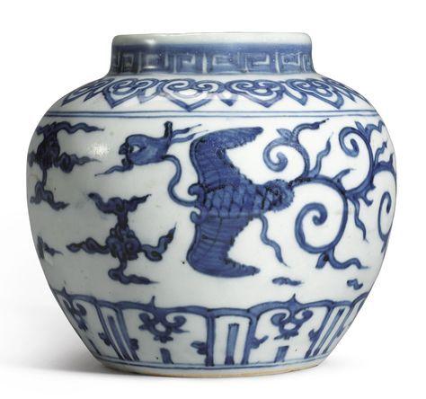 A BLUE AND WHITE 'PHOENIX' JAR JIAJING MARK AND PERIOD