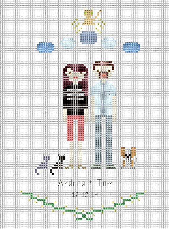 Family Cross Stitch Portrait PATTERN DIY Gift by CountryPhresh